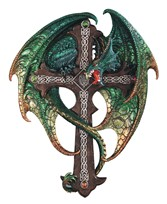 "View 15 3/4"" Green Dragon Wall Plaque"