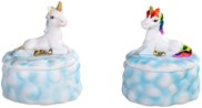 View Lucite Unicorn with Rainbow Mane Trinket Box 2 pc Set