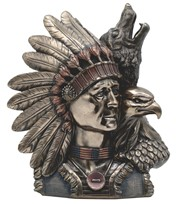 View Bronze Indian Chief with Wolf/Eagle