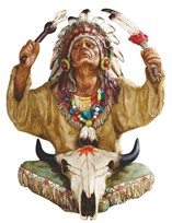"View Indian with Bull Skull 10""H"