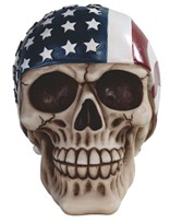 View Skull with US Flag Bandana
