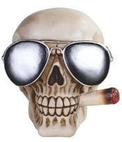 View Skull Smoking with Pilot Glasses