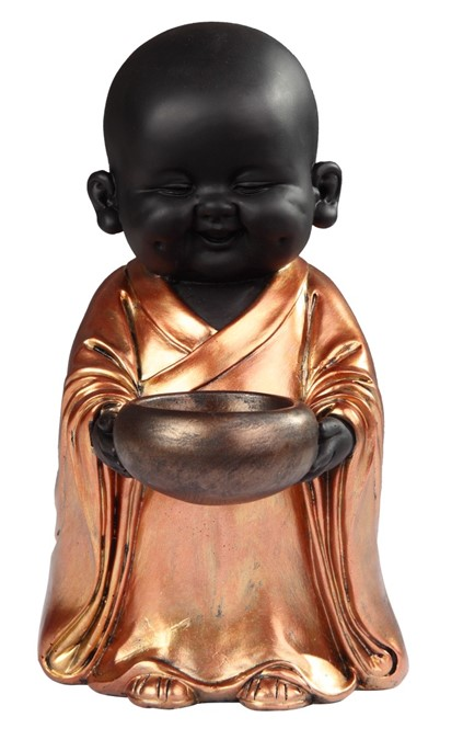 Standing Buddhist Monk In Golden Black Gsc Imports